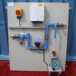 Water Treatment Dosing backboard with hot water sample manifold