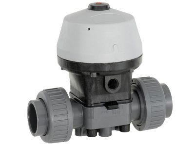 Actuated diaphragm valve normally closed
