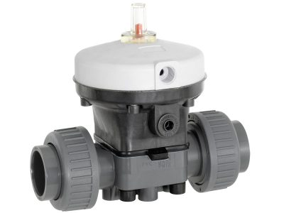 Actuated diaphragm valve normally open